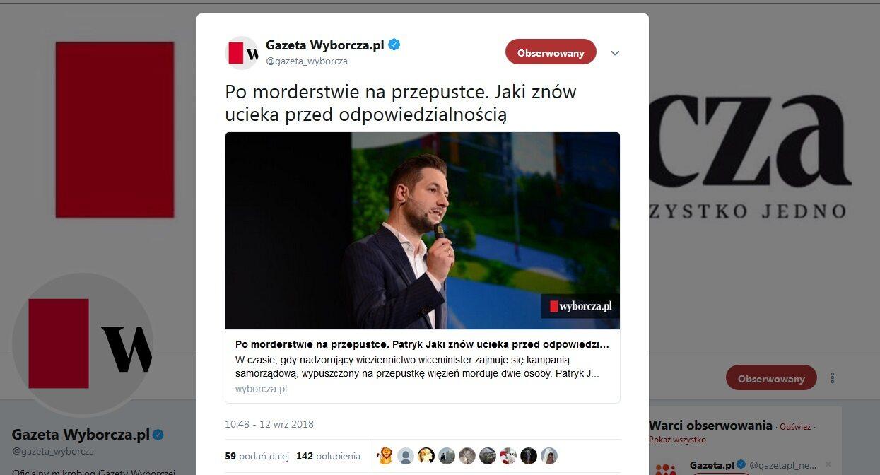 """Zrzut ekranu z konta """"Gazety Wyborczej"""" na Twitterze"""